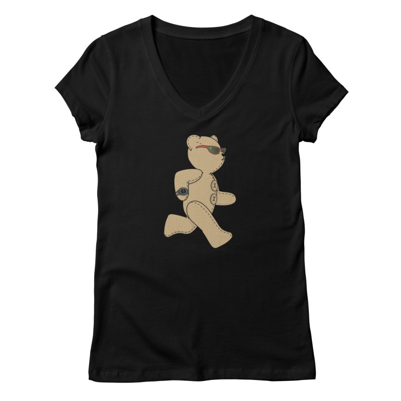 Running Bear Women's V-Neck by grumpyteds's Artist Shop
