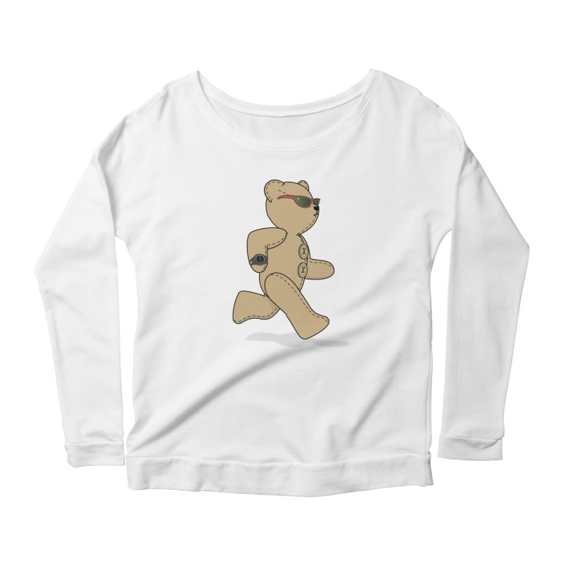 Running Bear Women's Scoop Neck Longsleeve T-Shirt by grumpyteds's Artist Shop