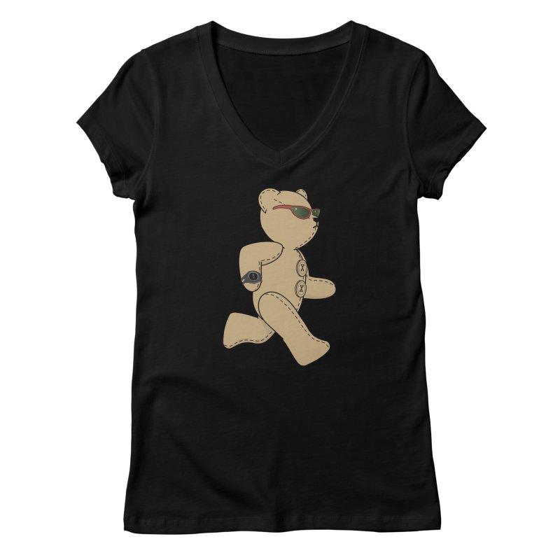 Running Bear Women's V-Neck by grumpyteds's Artist Shop