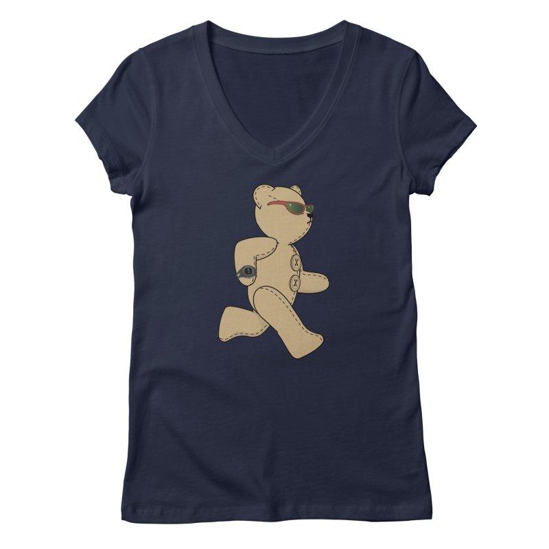 Running Bear Women's Regular V-Neck by grumpyteds's Artist Shop
