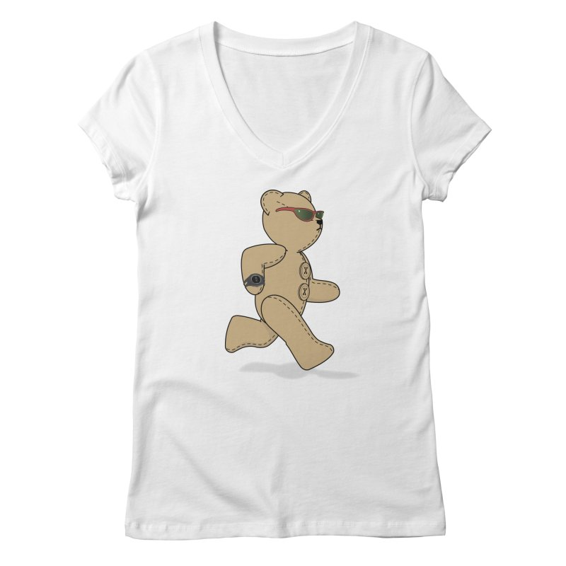Running Bear Women's Regular V-Neck by grumpyteds's Artist Shop