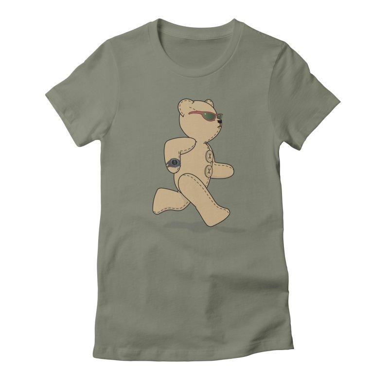 Running Bear Women's Fitted T-Shirt by grumpyteds's Artist Shop