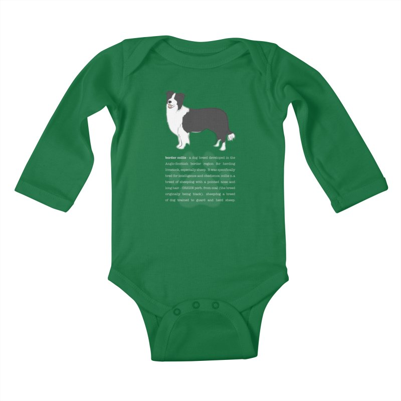 Border Collie 1 Kids Baby Longsleeve Bodysuit by grumpyteds's Artist Shop