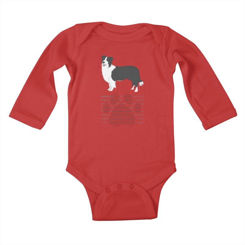 Border Collie 2 Kids Baby Longsleeve Bodysuit by grumpyteds's Artist Shop