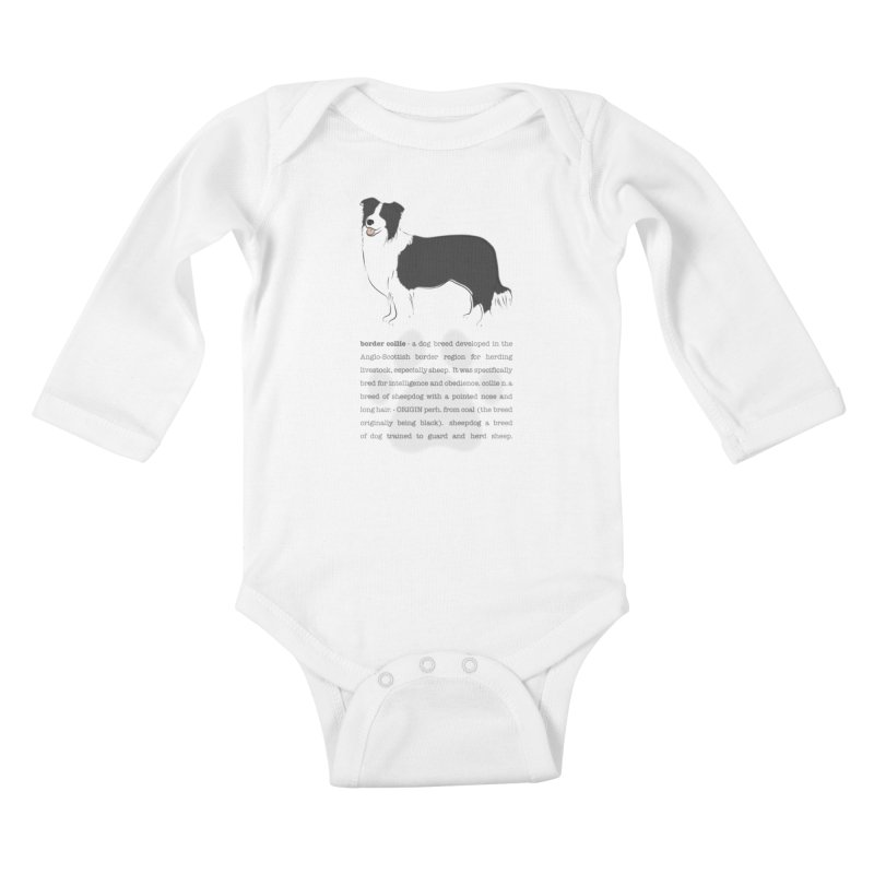 Border Collie 2 Kids Baby Longsleeve Bodysuit by grumpyteds's Artist Shop
