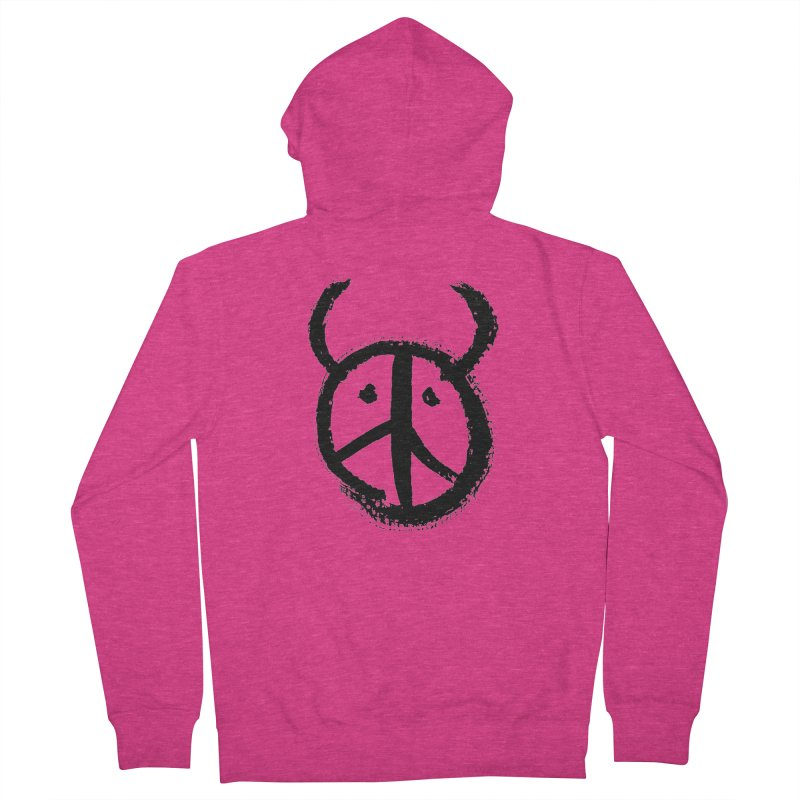 Horned Peace Women's French Terry Zip-Up Hoody by grzechotnick's Artist Shop