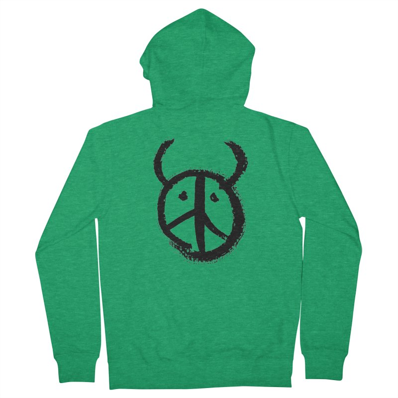 Horned Peace Men's French Terry Zip-Up Hoody by grzechotnick's Artist Shop