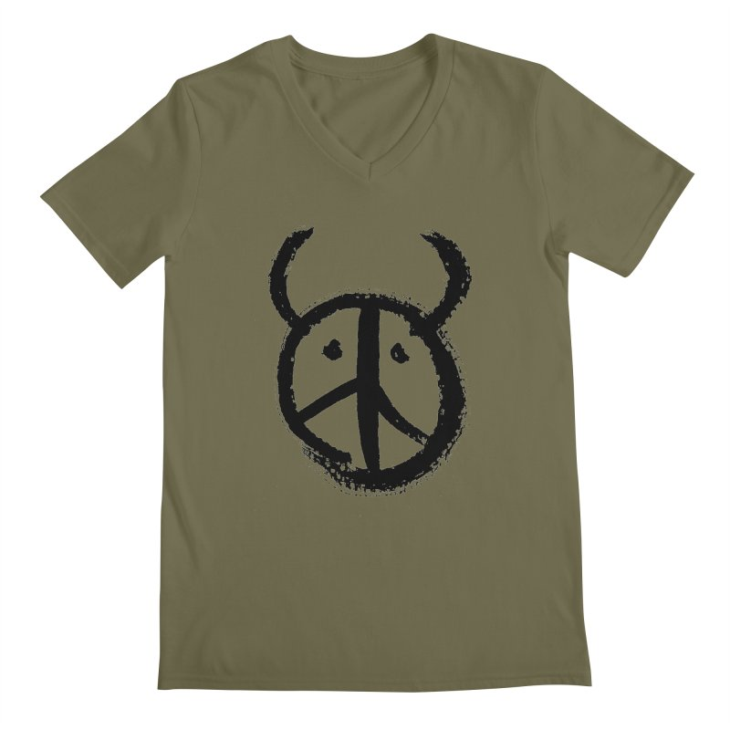 Horned Peace Men's Regular V-Neck by grzechotnick's Artist Shop