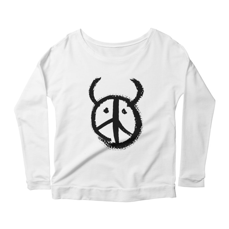 Horned Peace Women's Scoop Neck Longsleeve T-Shirt by grzechotnick's Artist Shop