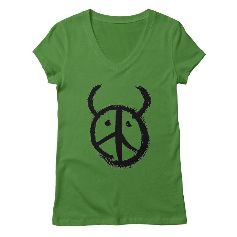Horned Peace Women's Regular V-Neck by grzechotnick's Artist Shop