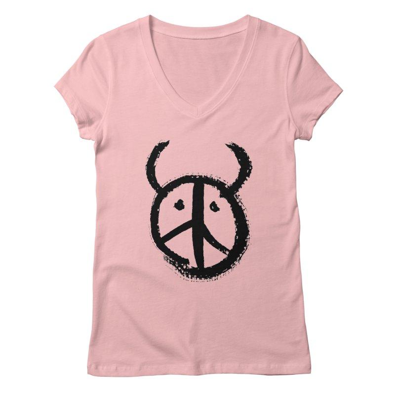 Horned Peace Women's V-Neck by grzechotnick's Artist Shop