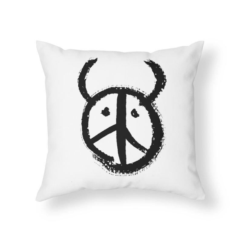Horned Peace Home Throw Pillow by grzechotnick's Artist Shop
