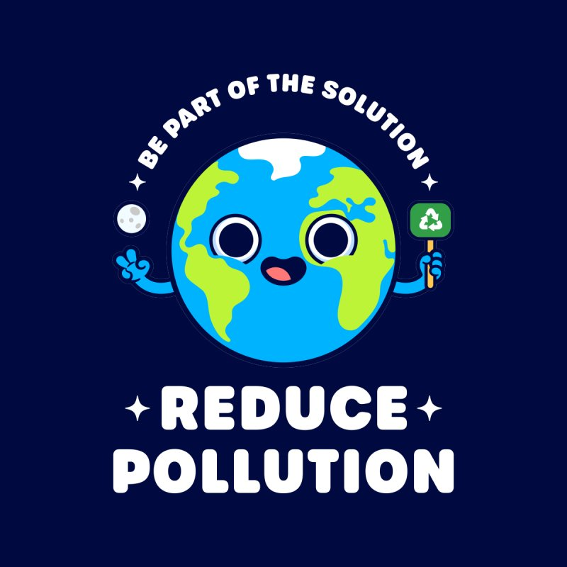 Be Part of the Solution: Reduce Pollution - Cute Planet Earth Men's T-Shirt by Gudland Design