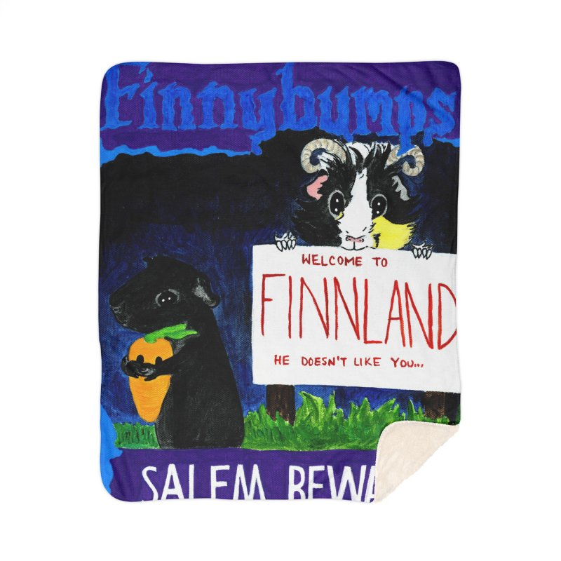 Finnybumps - Salem, Beware Home Sherpa Blanket Blanket by Guinea Pigs and Books