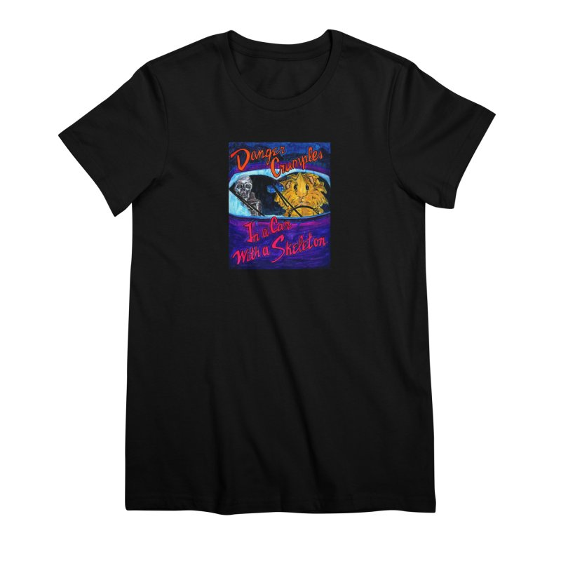 Danger Crumples In a Car with a Skeleton Women's Premium T-Shirt by Guinea Pigs and Books