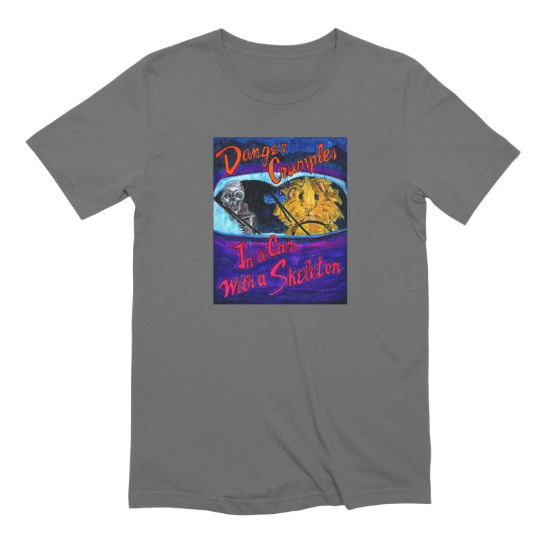 Danger Crumples In a Car with a Skeleton Men's Extra Soft T-Shirt by Guinea Pigs and Books
