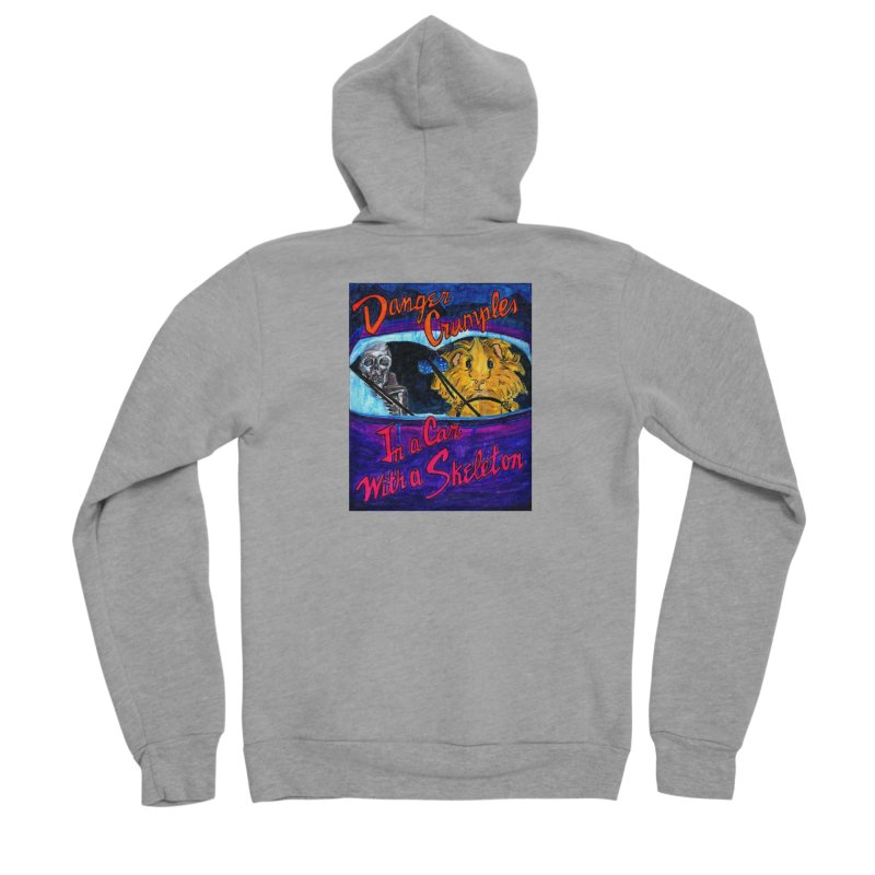Danger Crumples In a Car with a Skeleton Men's Sponge Fleece Zip-Up Hoody by Guinea Pigs and Books