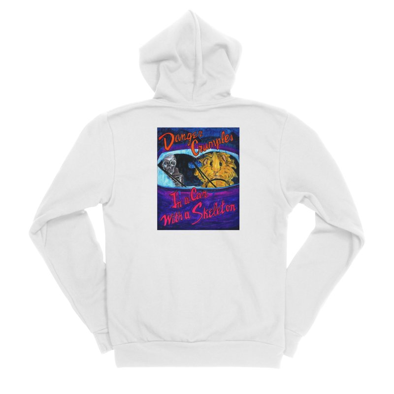 Danger Crumples In a Car with a Skeleton Women's Sponge Fleece Zip-Up Hoody by Guinea Pigs and Books