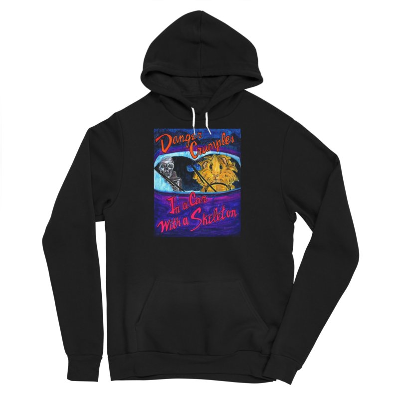 Danger Crumples In a Car with a Skeleton Men's Sponge Fleece Pullover Hoody by Guinea Pigs and Books