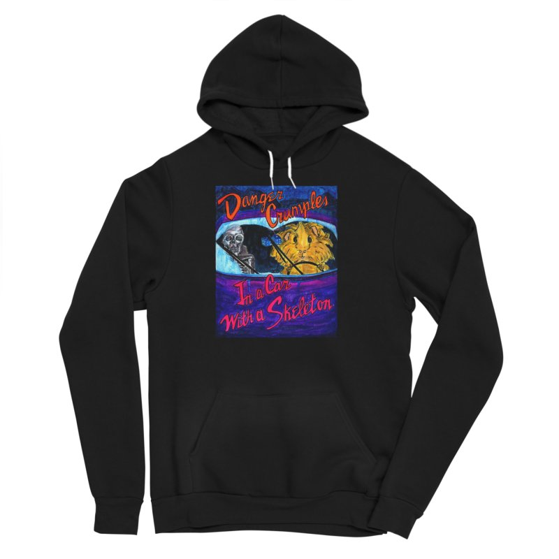 Danger Crumples In a Car with a Skeleton Women's Sponge Fleece Pullover Hoody by Guinea Pigs and Books