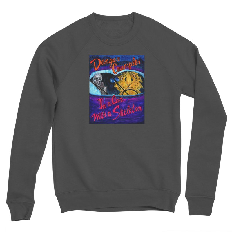 Danger Crumples In a Car with a Skeleton Men's Sponge Fleece Sweatshirt by Guinea Pigs and Books