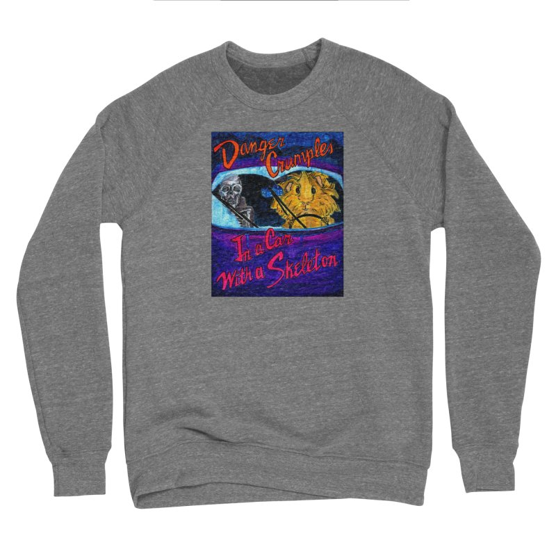 Danger Crumples In a Car with a Skeleton Women's Sponge Fleece Sweatshirt by Guinea Pigs and Books