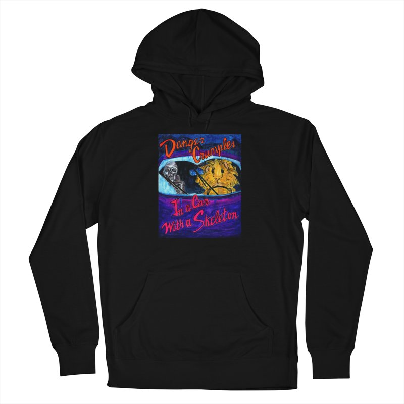 Danger Crumples In a Car with a Skeleton Men's French Terry Pullover Hoody by Guinea Pigs and Books