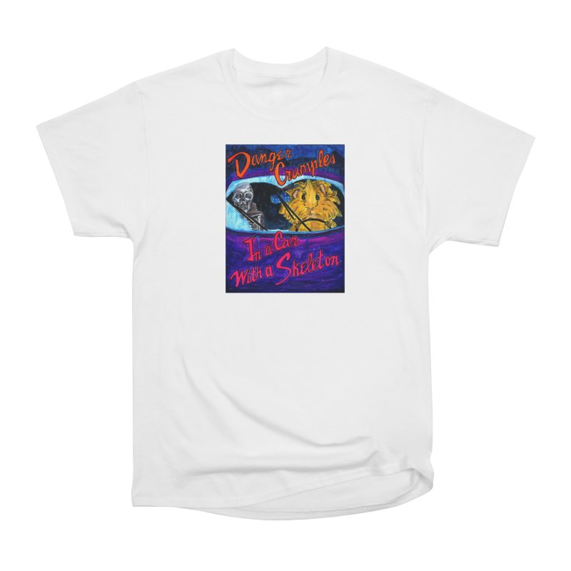 Danger Crumples In a Car with a Skeleton Men's Heavyweight T-Shirt by Guinea Pigs and Books