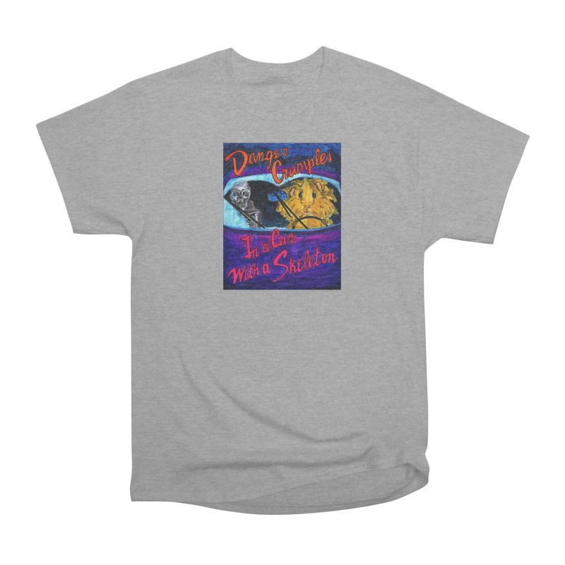 Danger Crumples In a Car with a Skeleton Women's Heavyweight Unisex T-Shirt by Guinea Pigs and Books
