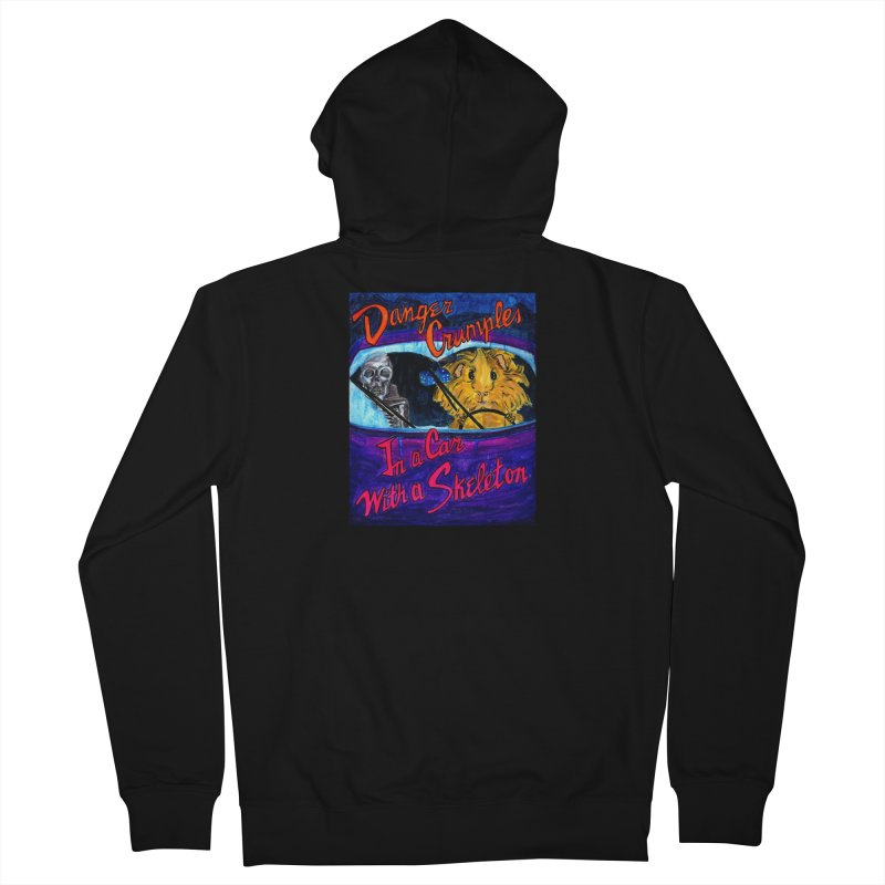 Danger Crumples In a Car with a Skeleton Men's French Terry Zip-Up Hoody by Guinea Pigs and Books