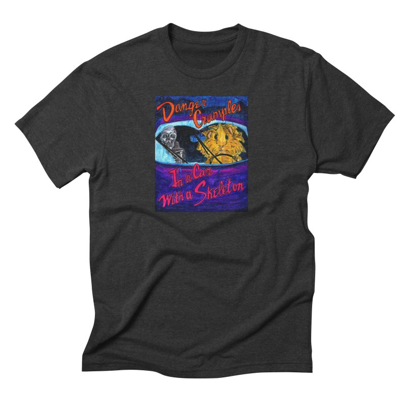 Danger Crumples In a Car with a Skeleton Men's Triblend T-Shirt by Guinea Pigs and Books