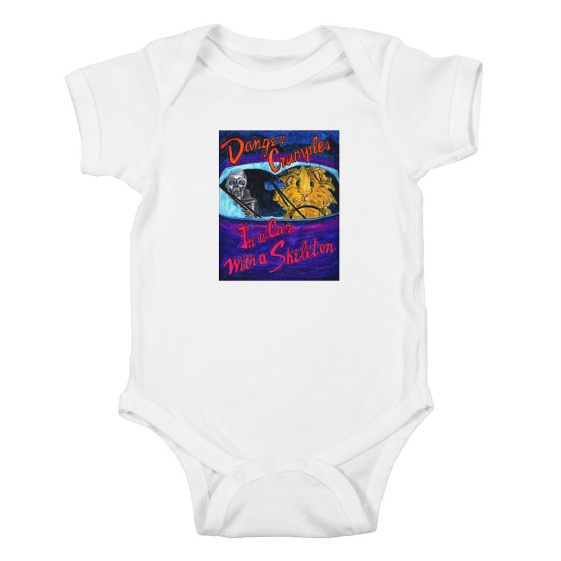 Danger Crumples In a Car with a Skeleton Kids Baby Bodysuit by Guinea Pigs and Books
