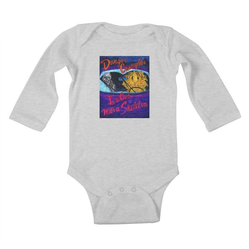 Danger Crumples In a Car with a Skeleton Kids Baby Longsleeve Bodysuit by Guinea Pigs and Books