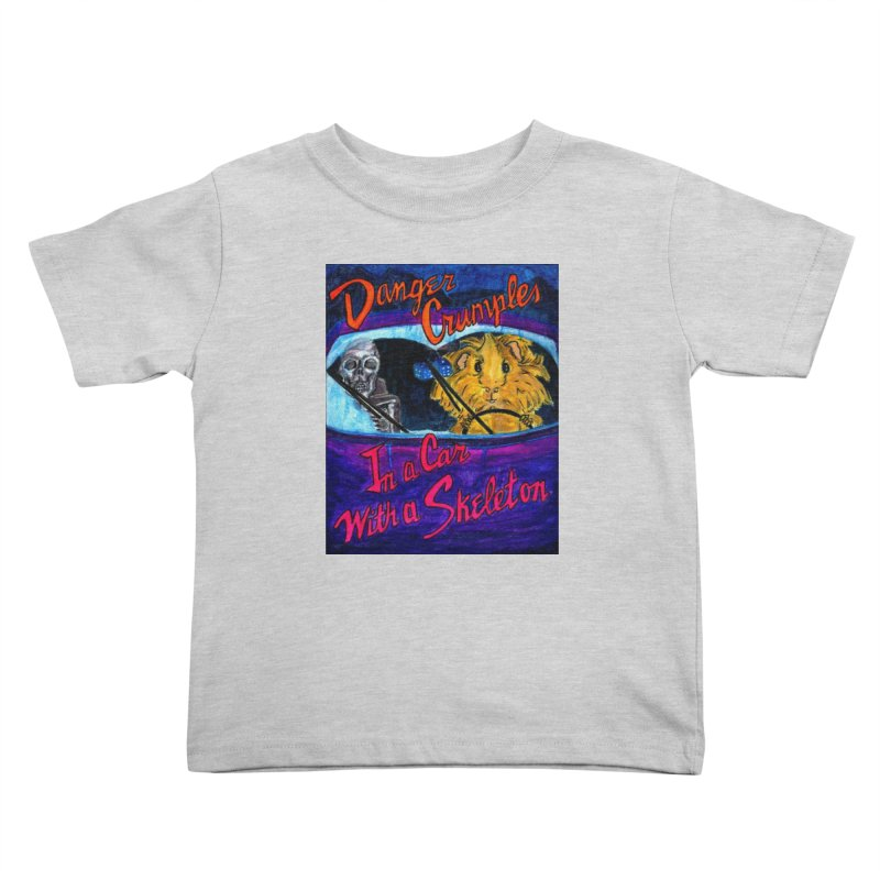 Danger Crumples In a Car with a Skeleton Kids Toddler T-Shirt by Guinea Pigs and Books