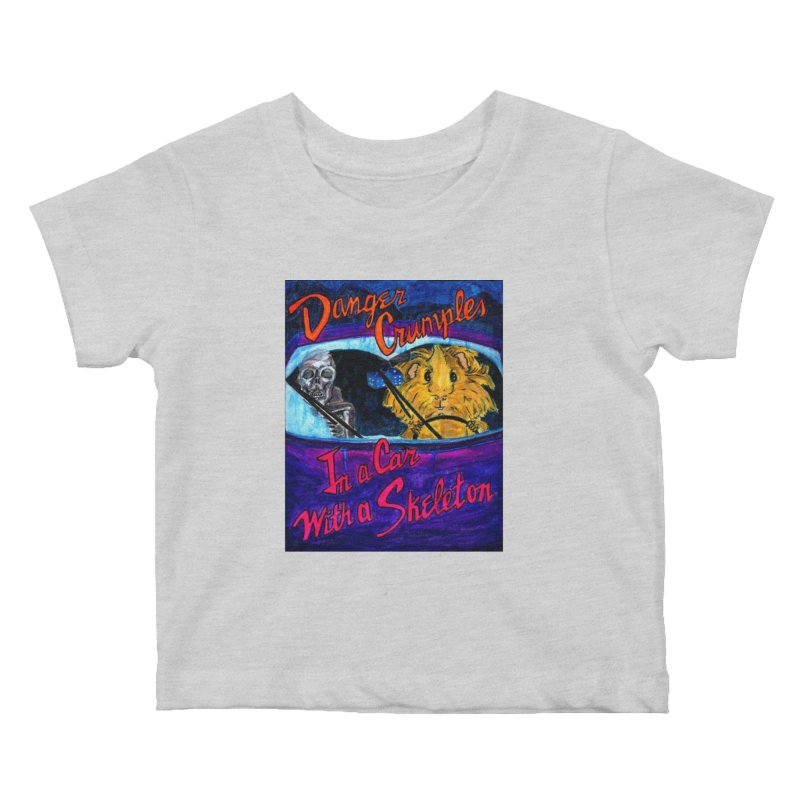 Danger Crumples In a Car with a Skeleton Kids Baby T-Shirt by Guinea Pigs and Books