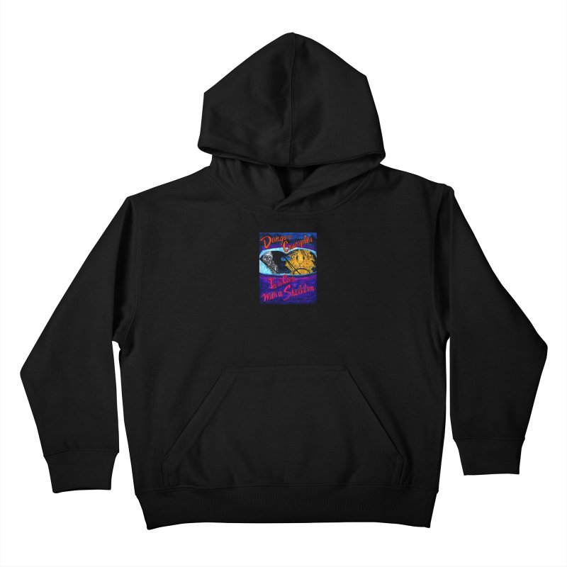 Danger Crumples In a Car with a Skeleton Kids Pullover Hoody by Guinea Pigs and Books