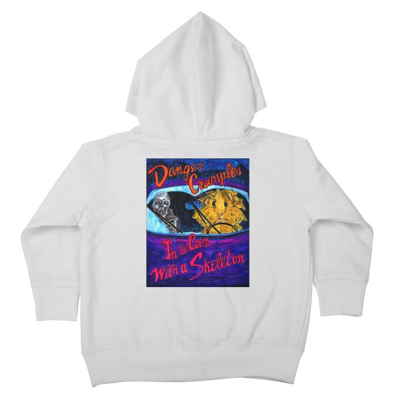Danger Crumples In a Car with a Skeleton Kids Toddler Zip-Up Hoody by Guinea Pigs and Books