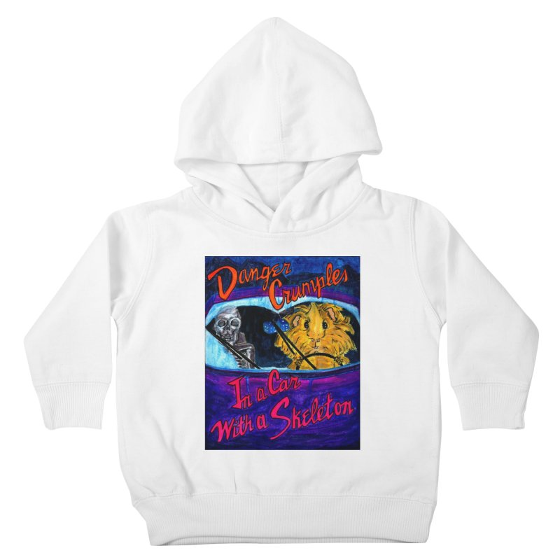 Danger Crumples In a Car with a Skeleton Kids Toddler Pullover Hoody by Guinea Pigs and Books