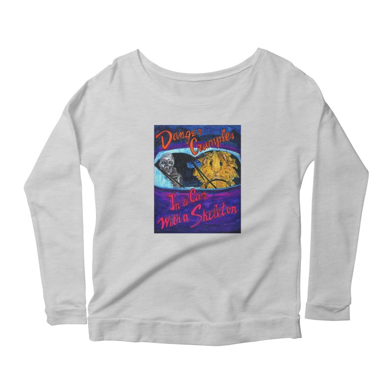 Danger Crumples In a Car with a Skeleton Women's Scoop Neck Longsleeve T-Shirt by Guinea Pigs and Books