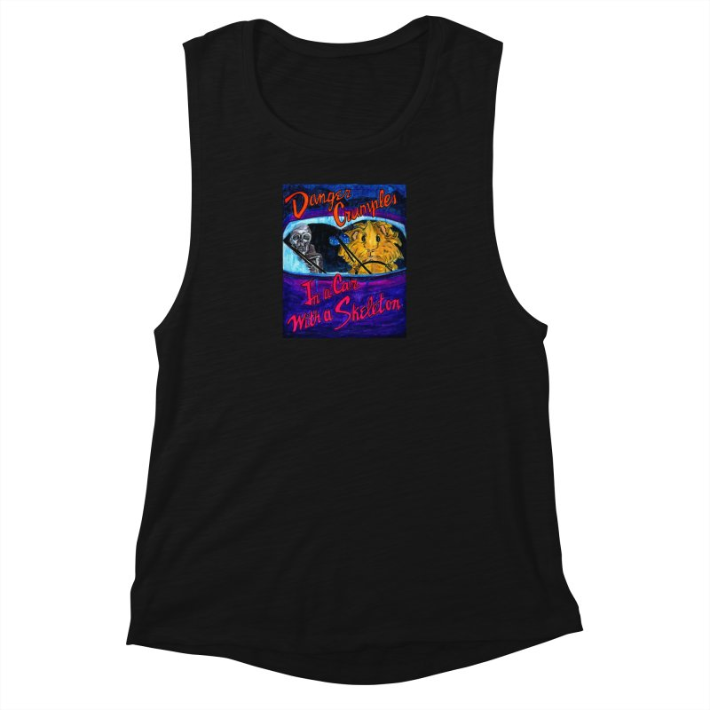 Danger Crumples In a Car with a Skeleton Women's Muscle Tank by Guinea Pigs and Books