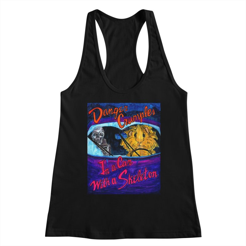 Danger Crumples In a Car with a Skeleton Women's Racerback Tank by Guinea Pigs and Books