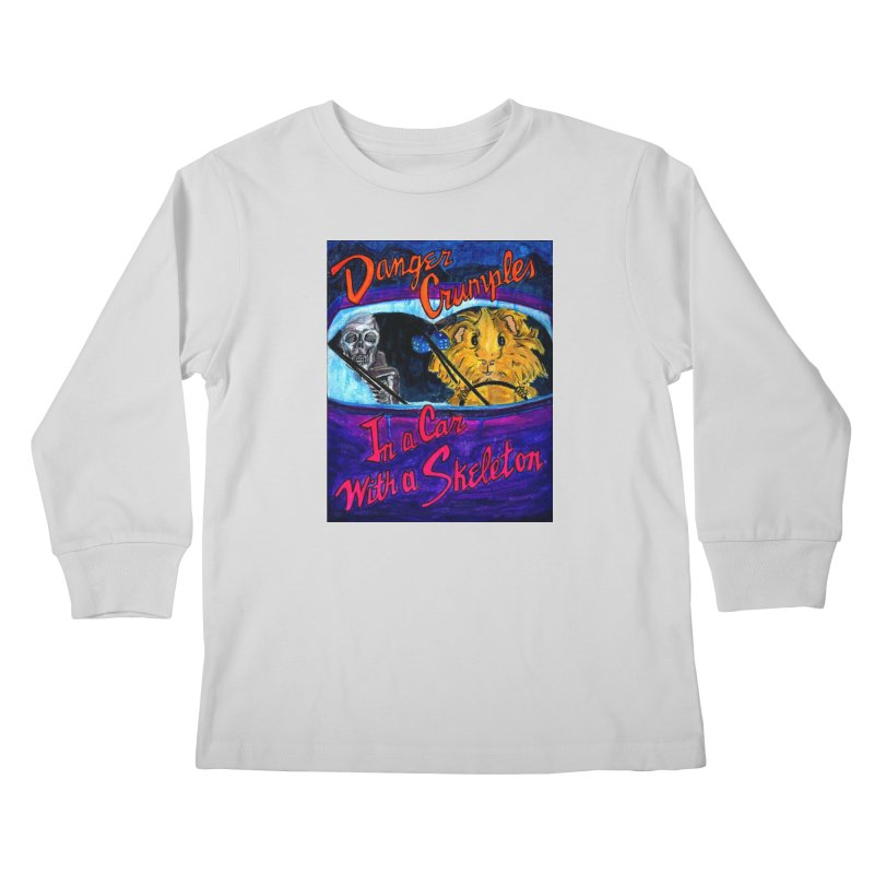 Danger Crumples In a Car with a Skeleton Kids Longsleeve T-Shirt by Guinea Pigs and Books