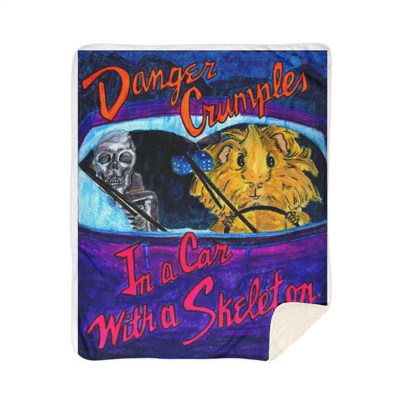 Danger Crumples In a Car with a Skeleton Home Sherpa Blanket Blanket by Guinea Pigs and Books