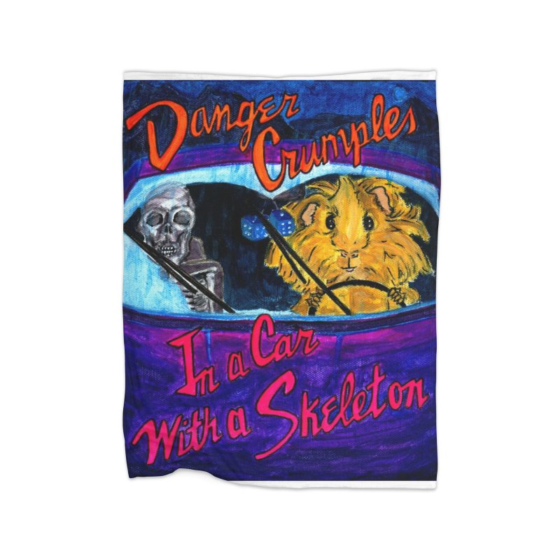 Danger Crumples In a Car with a Skeleton Home Fleece Blanket Blanket by Guinea Pigs and Books