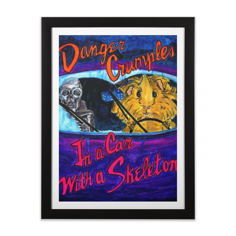 Danger Crumples In a Car with a Skeleton Home Framed Fine Art Print by Guinea Pigs and Books