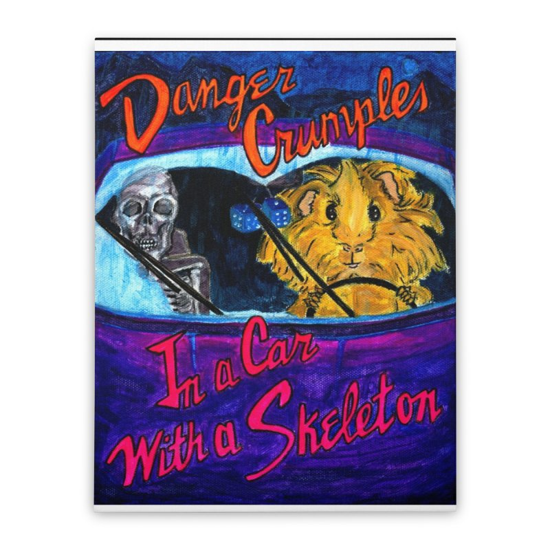 Danger Crumples In a Car with a Skeleton Home Stretched Canvas by Guinea Pigs and Books