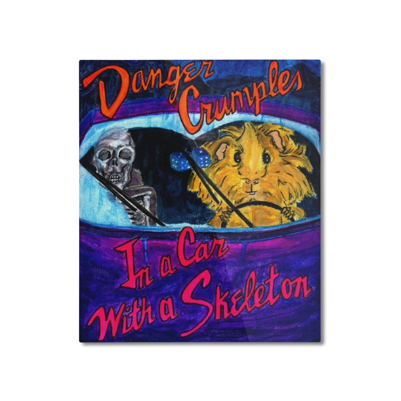 Danger Crumples In a Car with a Skeleton Home Mounted Aluminum Print by Guinea Pigs and Books