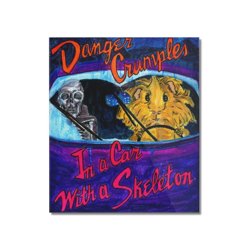 Danger Crumples In a Car with a Skeleton Home Mounted Acrylic Print by Guinea Pigs and Books