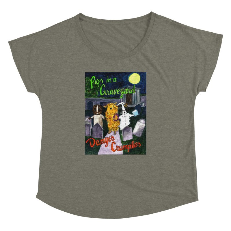 Pigs in a Graveyard Women's Dolman Scoop Neck by Guinea Pigs and Books