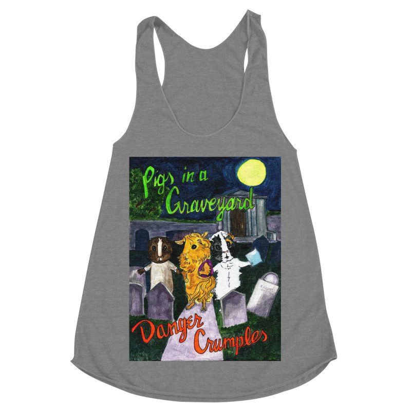 Pigs in a Graveyard Women's Racerback Triblend Tank by Guinea Pigs and Books